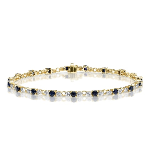 9K Gold Diamond and Sapphire Claw Set Link Bracelet - image 1