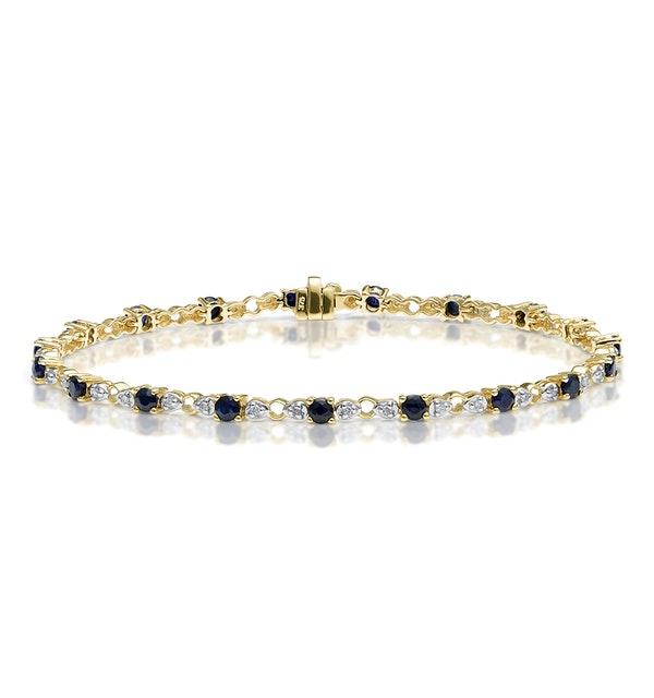 9K Gold Diamond and Sapphire Claw Set Link Bracelet - image 1