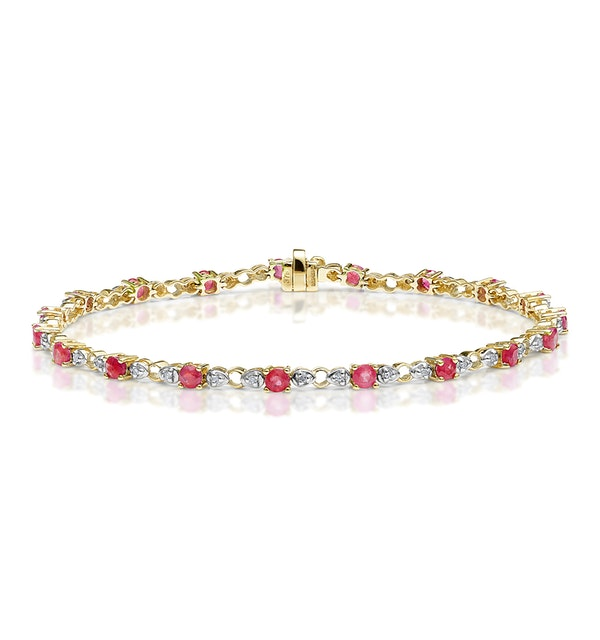 9K Gold Diamond and Ruby Claw Set Link Bracelet - image 1