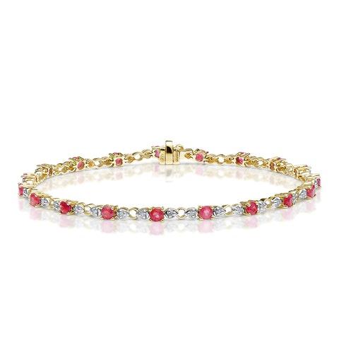 9K Gold Diamond and Ruby Claw Set Link Bracelet - image 1