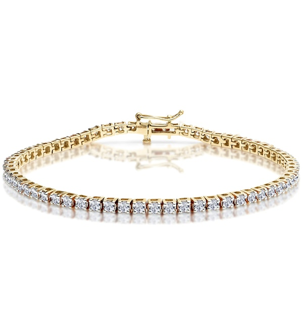3ct Diamond Tennis Bracelet Claw Set in 9K Yellow Gold - image 1