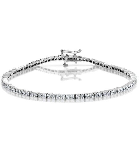 1ct Diamond Tennis Bracelet Claw Set in 9K White Gold - image 1
