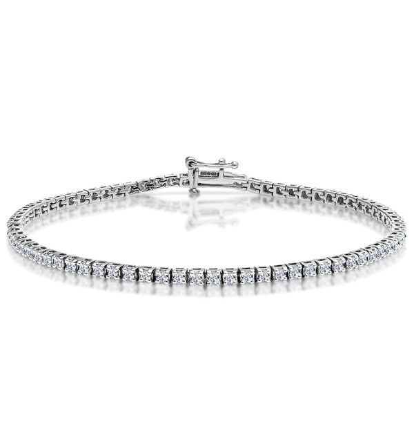 2ct Diamond Tennis Bracelet Claw Set in 9K White Gold - image 1