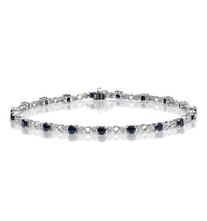 Sapphire and Lab Diamond Tennis Bracelet Claw Set in 925 Silver