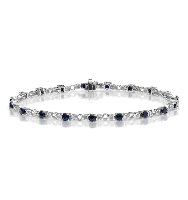 9K White Gold Diamond and Sapphire Claw Set Link Bracelet - image 1