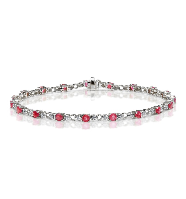 9K White Gold Diamond and Ruby Claw Set Link Bracelet - image 1