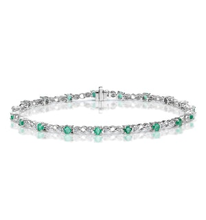 Emerald and Lab Diamond Tennis Bracelet Claw Set in 925 Silver