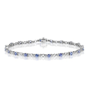 9K White Gold Diamond and Tanzanite Claw Set Link Bracelet