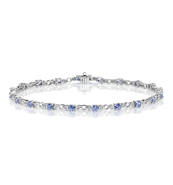9K White Gold Diamond and Tanzanite Claw Set Link Bracelet - image 1