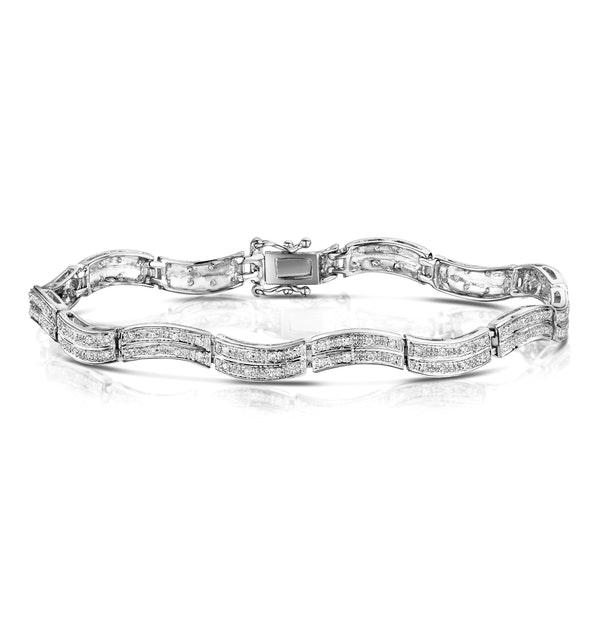 Diamond 0.55ct 9K White Gold Pave Bracelet - RTC-I3620 - image 1