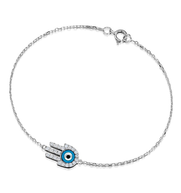 0.28ct Diamond and 9K White Gold 'Evil Eye' Hamsa Bracelet - image 1