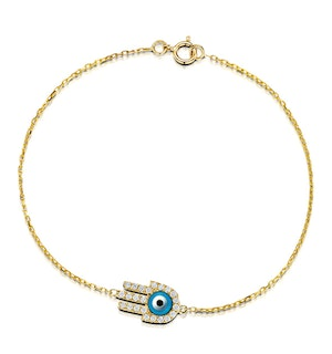0.28ct Diamond and 9K Gold 'Evil Eye' Hamsa Bracelet