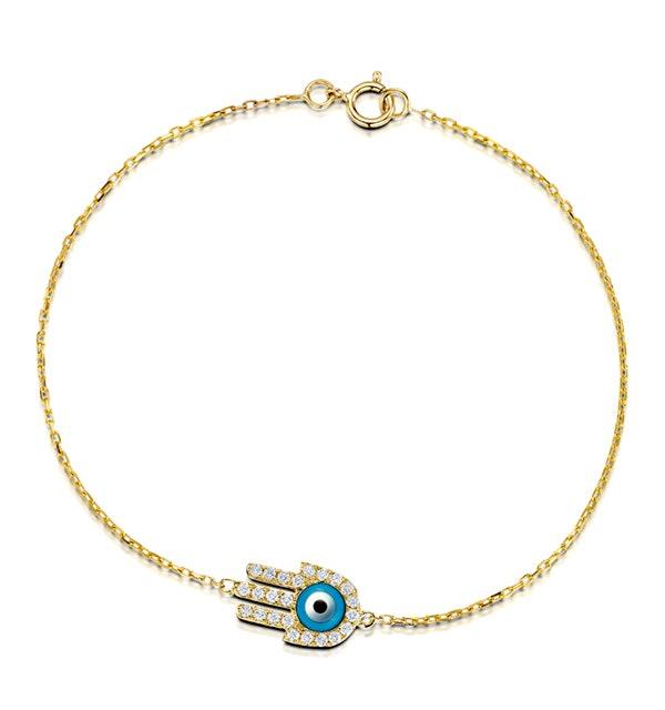 0.28ct Diamond and 9K Gold 'Evil Eye' Hamsa Bracelet - image 1