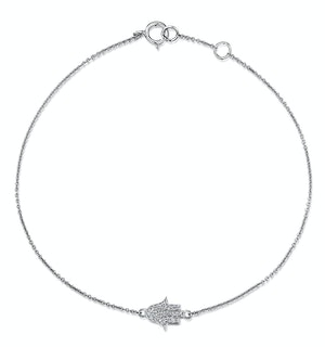 Stellato Collection Hamsa Diamond Bracelet 0.07ct in 9K White Gold