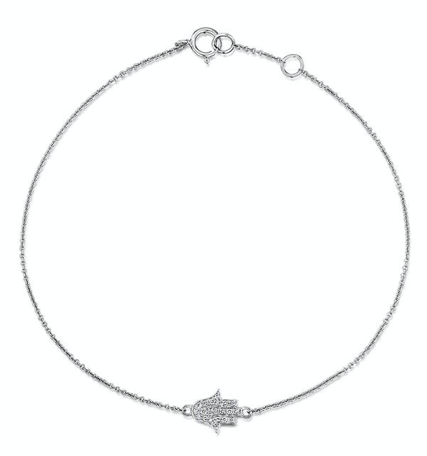 Stellato Collection Hamsa Diamond Bracelet 0.07ct in 9K White Gold - image 1