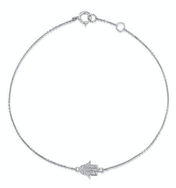 Stellato Collection Hamsa Diamond Bracelet 0.07ct in 9K White Gold - image 1