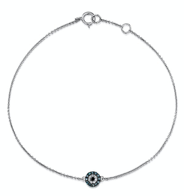 Black Diamond and Diamond Stellato Bracelet in 9K White Gold - image 1