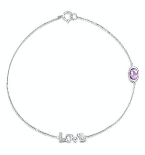 Amethyst and Diamond Stellato Bracelet 0.02ct in 9K White Gold