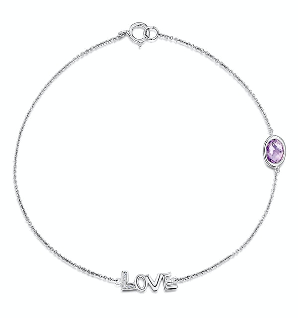 Amethyst and Diamond Stellato Bracelet 0.02ct in 9K White Gold - image 1