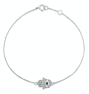 Tsavorite and Diamond Stellato Hamsa Bracelet 0.08ct 9K White Gold
