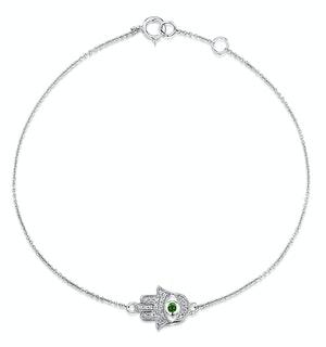 Tsavorite and Diamond Stellato Hamsa Bracelet 0.08ct 9K White Gold
