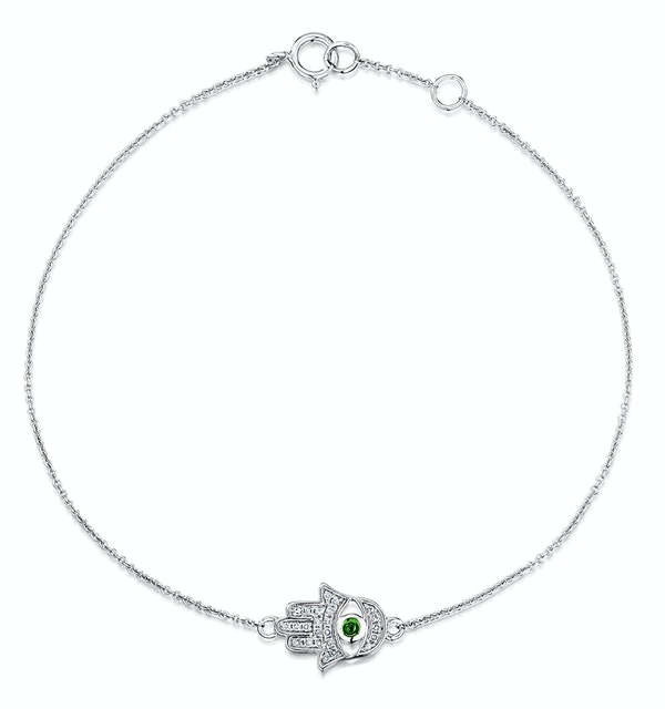 Tsavorite and Diamond Stellato Hamsa Bracelet 0.08ct 9K White Gold - image 1
