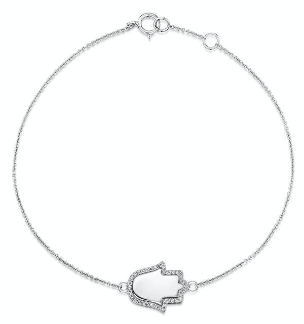 Stellato Collection Diamond Hamsa Bracelet 0.11ct in 9K White Gold - image 1
