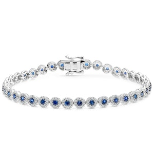 1.62ct Sapphire and 1ct Diamond Stellato Bracelet in 9K White Gold