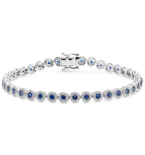 1.62ct Sapphire and 1ct Diamond Stellato Bracelet in 9K White Gold - image 1