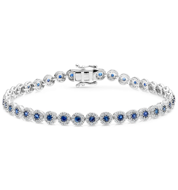 1.62ct Sapphire and 1ct Diamond Stellato Bracelet in 9K White Gold - image 1