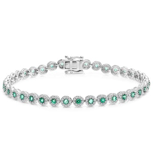 1.11ct Emerald and 1ct Diamond Stellato Bracelet in 9K White Gold