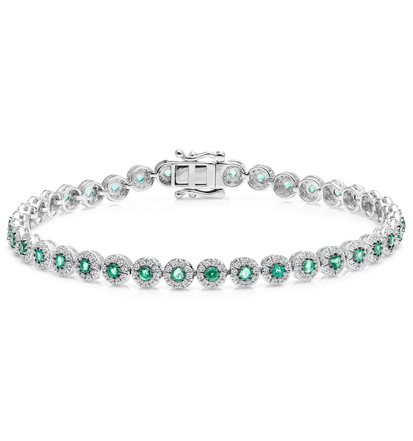 1.11ct Emerald and 1ct Diamond Stellato Bracelet in 9K White Gold - image 1