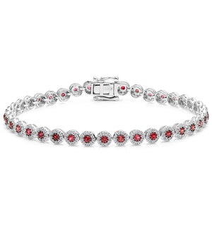 1.36ct Ruby and 1ct Diamond Stellato Bracelet in 9K White Gold