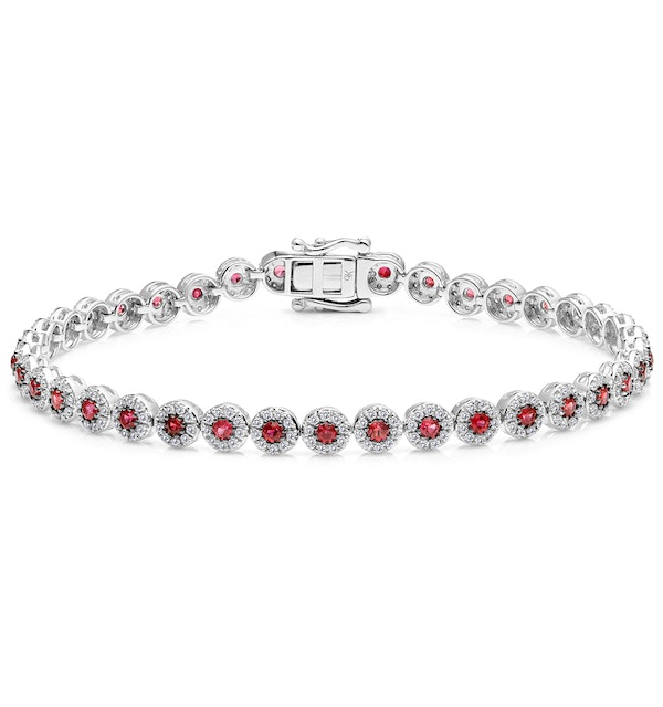 1.36ct Ruby and 1ct Diamond Stellato Bracelet in 9K White Gold - image 1