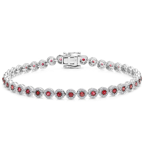 1.36ct Ruby and 1ct Diamond Stellato Bracelet in 9K White Gold - image 1