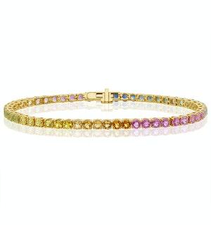 Rainbow Gem Stones Bracelet 10ct Set in 9K Yellow Gold