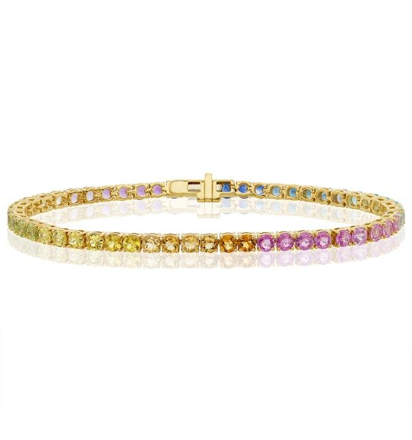 Rainbow Gem Stones Bracelet 10ct Set in 9K Yellow Gold - image 1