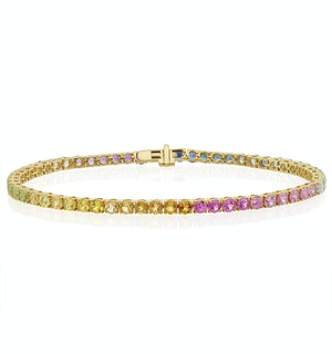 Mens Rainbow Gem Stones Bracelet 10ct Set in 9K Yellow Gold