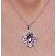 Garnet Pink Sapphire Diamond Stellato Pendant 0.14ct in 9K White Gold - image 3