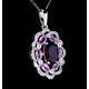 Garnet Pink Sapphire Diamond Stellato Pendant 0.14ct in 9K White Gold - image 4
