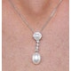 Stellato Collection Pearl and Diamond Pendant 0.08ct in 9K White Gold - image 3