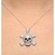 Black Diamond And Diamond 9K White Gold Skull And Crossbone Pendant - image 3