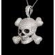 Black Diamond And Diamond 9K White Gold Skull And Crossbone Pendant - image 4