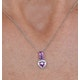 Rhodolite Pink Sapphire Diamond Stellato Heart Pendant 9K White Gold - image 3
