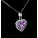 Pink Sapphire Diamond Stellato Heart Pendant in 9K White Gold - image 4