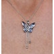 Stellato Collection Sapphire Diamond Butterfly Pendant 9K White Gold - image 3