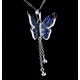 Stellato Collection Sapphire Diamond Butterfly Pendant 9K White Gold - image 4