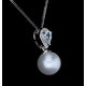 6mm Pearl Blue Topaz and Diamond Stellato Pendant in 9K White Gold - image 4