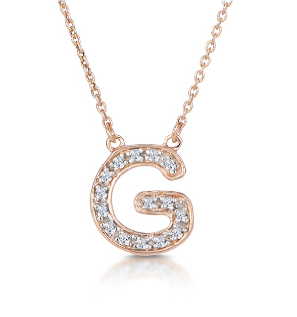 Initial 'G' Necklace Diamond Encrusted Pave Set in 9K Rose Gold - image 1