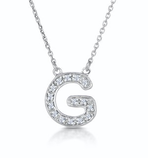 Initial 'G' Necklace Diamond Encrusted Pave Set in 9K White Gold